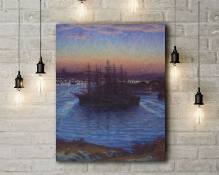 Prince Eugen: Ships at Anchor, Winter. Fine Art Canvas.